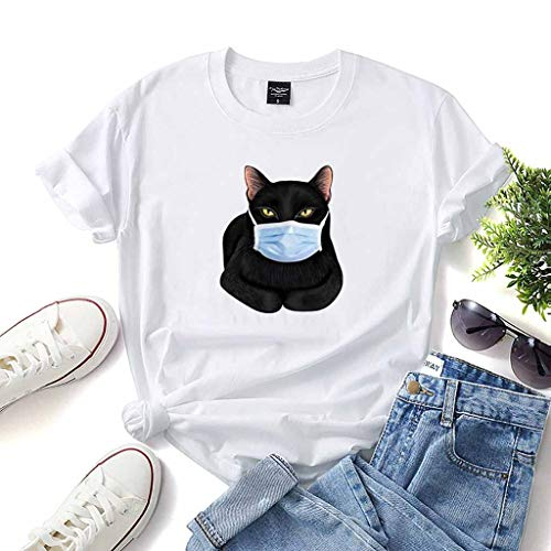 C.O.V.I.D-19 Commemorative T-Shirt Mask Cat Cartoon Pattern Women's Pure Cotton Short Sleeve (Color : White, Size : XX-Large)