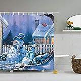 Feliz navidad y próspero año nuevo santa claus árbol de navidad cortina de ducha cortina de baño con gancho cortina de ducha familia cortina de ducha impermeable y a prueba de moho A24 180x180cm