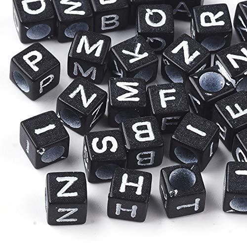 Cheriswelry Acerca de 3840 cuentas acrílicas del alfabeto de 6 mm, color negro, letras A-Z, cuadradas, espaciadores para joyería