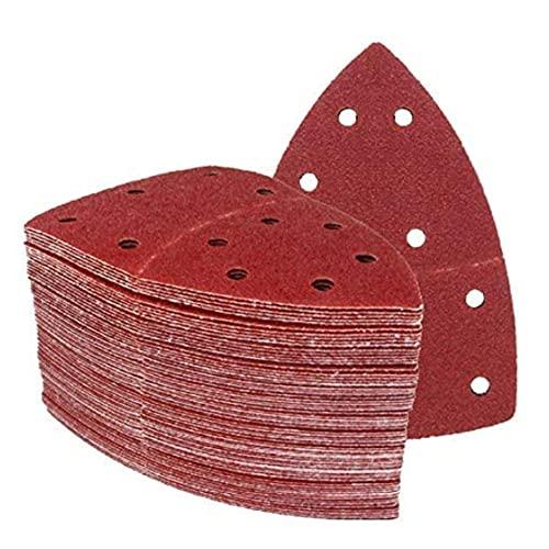 Triángulos de Molienda Prio │ 50 piezas │ 11 agujeros │ 105 x 152 mm │ grano 60 │ para poliquenales │ Cuchillas de Molienda │ Almohadillas de Molienda Triangulares │ Papel de Molienda │ Hojas de Lija