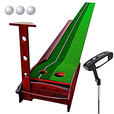 Wood Golf Putting Mat Come with Golf Putter and 3 Golf Balls- Portable Mat with Auto Ball Return Function– Mini Golf Practice Training Aid, Game and Gift for Home, Office, Outdoor Use