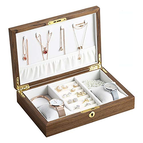 zjyfyfyf Organizador de Caja de joyería para Mujeres Estuche de Almacenamiento de joyería de Madera con Collares Compartimiento removible para Collar Pendientes Anillos Pulseras (Color : A)