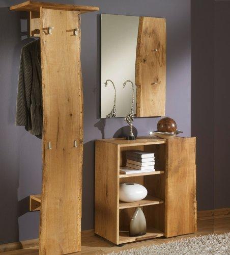Unbekannt 3-tlg Garderobenset Eiche Massiv-Holz natur Garderobe Flurmöbel Spiegel Kommode