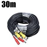 FLOUREON 30M/98 pies Cable BNC Video Fuente de Alimentación para Kit CCTV Cámara de Vigilancia DVR Sistema Seguridad Hogar