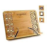 Joyoldelf Bambú soporte para Libro de cocina, plegable soporte con Respaldo ajustable & Patrón...