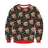 Freshhoodies Unisex Navidad Sudaderas 3D Perro Imprimi Hombres Mujeres Navidad Sudadera con Capucha Christmas Pullover Ugly Sweater XXL