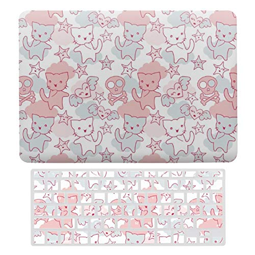 For MacBook New Pro 13 Touch Case, Plastic Hard Shell & Keyboard Cover Compatible with MacBook New Pro 13 Touch, Cat Goth Skull Japanese Style Kawaii Heart Cloud Laptop Protective Shell Set