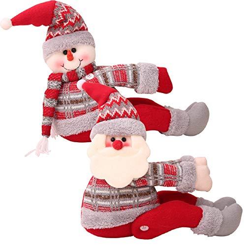 Tuopuda Fibbia per Tende Natale Decorazioni Natalizia Christmas Morsetto Gancio di Fissaggio Ragdoll Tenda Fibbie Ornamenti Finestre Affascinanti per Home Cafe Office (Babbo Natale+Pupazzo di Neve)