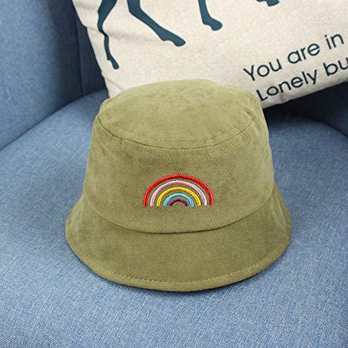 wtnhz Artículos de Moda Estilo Coreano Bordado de Moda Alfabeto Arco Iris Sombrero de Pescador para niños Sombrero de Lavabo de bebé de Lana de algodónRegalo de Vacaciones