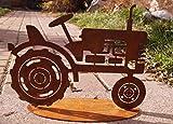 B.A.D.E.K.O. Edelrost Traktor 2D auf Bodenplatte 30 x 20cm Fahrzeug Garten Deko Rost