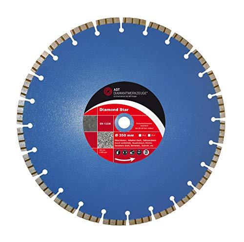 Diamante de corte de diámetro 350mm hormigón lasergeschweißt 20,0mm orificio Disco de corte para hormigón, ladrillo, cal arenisca, Bordillo, tejas, ligero de piedra