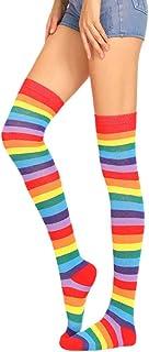 WOWOWO, WOWOWO Calcetines Largos para niñas Fancy Rainbow Coloridas Rayas sobre la Rodilla Calcetines Largos Halloween Cosplay Disfraz Tejido elástico Medias Altas