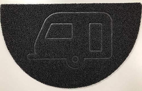 BHG Embossed Halfmoon Half Circle Door Mat Dirt-Trapper Jet-Washable Doormat 70x44cm (Black, Anchor Shape) - Use Indoor or Sheltered Outdoor,Black,Caravan-(70x44cm)