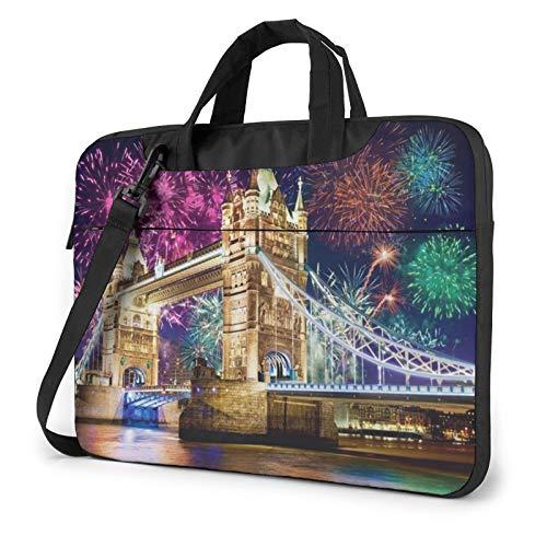 Bolsa de hombro para portátil – Contenedor de roble vino impreso a prueba de golpes impermeable portátil bolsa de hombro mochila maletín, Night London Tower Bridge (Verde) - 259841