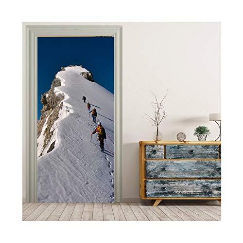 PANDABOOM Klettern Schnee Berg Bild Tür Aufkleber Wandtattoo Tapete Aufkleber Home Decoration 90X200Cm