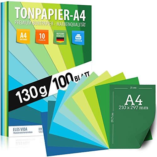 100 hojas de PAPEL DE ARCILLA - papel DIN A4-130g / m² Juego de 10 colores - papel artesanal estable y hojas de colores, hojas para niños y bricolaje, accesorios marino - verde - hierba - azul océan