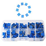 GTIWUNG 60PCS 12Value 100 Ohm a 500K Ohm 3296W Trimmer multigiro Resistore variabile Potenziometro Resistenza variabile con Scatola Plastci