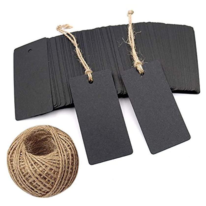 Black Gift Tags,Rectangle Blank Kraft Paper Wedding Favor Tags,Craft Tags with 100 Feet Jute Twine