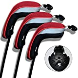 Andux coprimazza da golf per ibridi 3pcs/set intercambiabile No. Etichetta nero/rosso MT/hy01