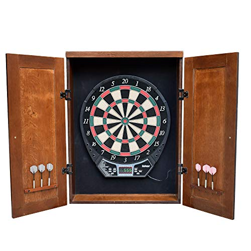 Hathaway Brookline Electronic Dartboard Cabinet Set, Walnut