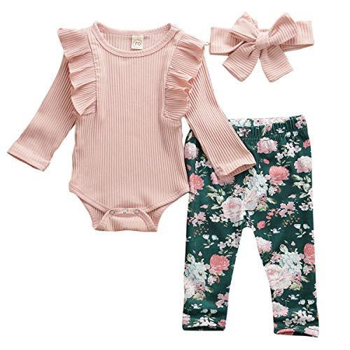 Geagodelia Babykleidung Set Baby Mädchen Langarm Body Strampler + Blumen Hose + Stirnband Neugeborene Kleinkinder Warme Babyset Kleidung T-38207 (0-6 Monate, Pink)