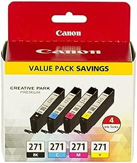 Canon CLI-271 BK/CMY 4 Color Value Pack Compatible to MG6820, MG6821, MG6822, MG5720, MG5721, MG5722, MG7720, TS5020, TS6020, TS8020, TS9020