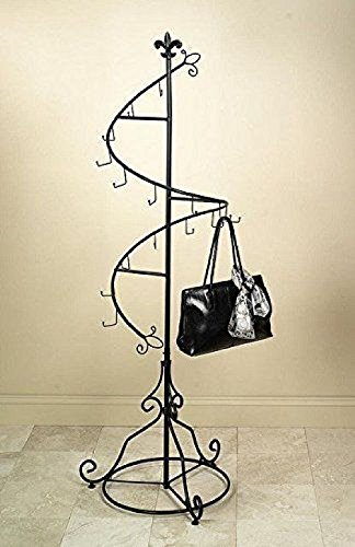 "Tripar Brown Metal Display Purse Tree and Jewelry Organizer – 74"" Spiral Coat Hanger/Bag Display/Garment Rack Stand with 15 Hooks"
