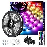 [ Mehr Farben, Mehr Modi ]: Mit der 44-Tasten Fernbedienung verfügt die LED Strip über insgesamt 34 Grundfarben, 20 statische Farbe, 6 DIY-Modi, 2 Sprungmodi, 2 Überblendmodi. Es hat Gedächtnisfunktion. [ Duale Steuerungsmöglichkeiten ]: Die Fernbedi...
