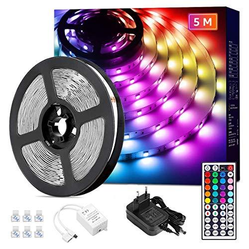 Lepro 5M 18W Ruban LED RGB 5050 Multicolore Dimmable, Bande Lumineuse Adhésif Efficace 20 Couleurs 8 Modes avec Télécommande, Lumières LED Décoratives pour Chambre, Maison, Miroir, Cuisine