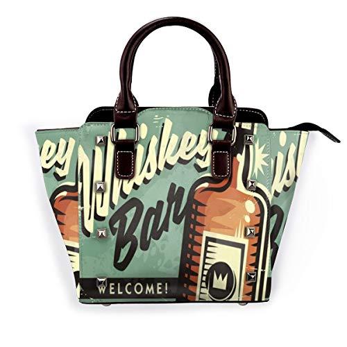 BROWCIN Old Welcome Whiskey Bar Werbeartikel Retro Food Drink Vintage Bourbon Pub Liquor Americana Plaque Rust Abnehmbare mode trend damen handtasche umhängetasche umhängetasche