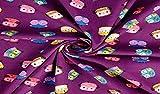 Fabrics-City LILA FEINCORD Bedruckt Cord Stoff Bunte EULEN