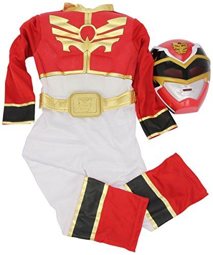 Power Ranges - Disfraz de Ranger Rojo musculoso para niño, infantil 3-4 años (Rubie's 886669-S)