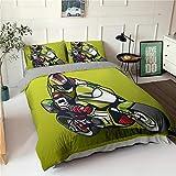 HGFHKL 3D Motorrad grün Bettbezug Kissenbezug Tagesdecke Luxus Bettwäsche Set Home Dekoration Erwachsenen Tagesdecke