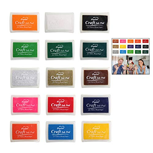 iwobi 15 Colori Tamponi per Timbri Bambini,Tampone di Inchiostro per Carta Artigianale Tessuto,DIY Artistica,Scrapbook,Impronte Digitali