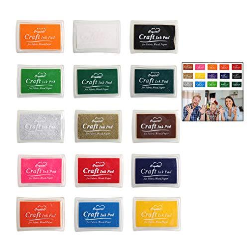 iwobi Almohadillas de Tinta, Rainbow Arte Dedo, DIY Huellas Dactilares Craft Ink Pad Set, 15 Colores, no tóxico para Sello de Goma Arte artesanía decoración de la Boda