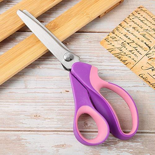 Tijeras de Coser con Mango cómodo de Acero Inoxidable Resistente, Tijeras onduladas dentadas, Papel de Tela, confección para Coser,(Triangular Serration 5 mm)