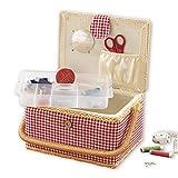 EASYmaxx Scatola da cucito in stile casa di campagna | inserto con vari pratici scomparti, accessori in 76 pezzi inclusi