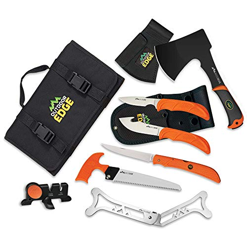 Outdoor Edge Outfitter, 9-Piece Field to Freezer Hunting & Game Processing Knife Set with Caping Knife, Gut-Hook Skinner, Boning/Fillet Knife, Sharpener, Axe, Wood/Bone Saw, Spreader, Gloves