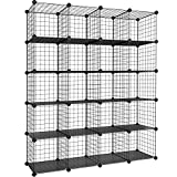 SONGMICS Wire Cube Storage, 20-Cube Modular Rack, PP Plastic Shelf Liners Included, Black ULPI45H