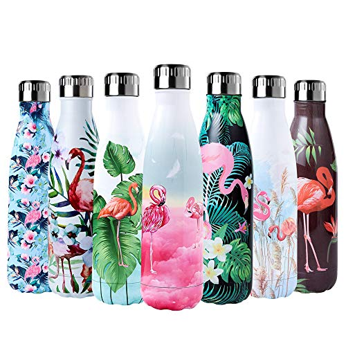 Enlifety Trinkflasche Edelstahl 500ml, Vakuum Wasserflasche Doppelwandige Thermosflasche, Trinkflasche Isolierflasche BPA Frei Sportflasche für Kinder, Fahrrad, Wandern - Rosa Wolkenflamingo