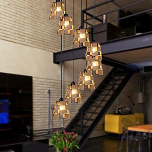 AMOS Escalera de caracol de doble nivel retro villa escalera de caracol hierro forjado lámpara de jaula restaurante restaurante chino lámparas de luz de escalera