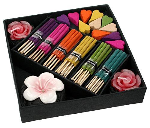 Coffret cadeau pur encens avec support, bougie, bâtons d'encens et cônes dans une boîte cadeau