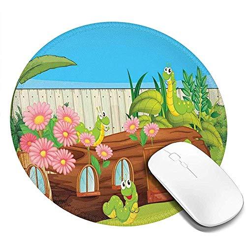 Ronde muismat, rupsen in de achtertuin Cartoon stijl Illustratie met bloemen en hek, anti-slip Gaming Mouse Mat