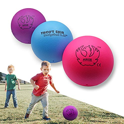 ARISE Dodgeball Set, 6.25 Inch, High Durability, Medium Bounce, Soft Foam Core Coated Ball Game, Safe for Kids and Adult, Gift, Classroom, Playground, Home, Indoor, Outdoor, Pack of 3 Colors-B/P/R