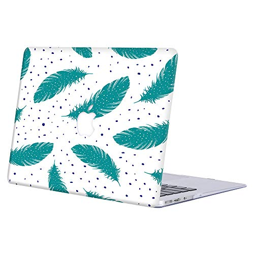 MacBook Pro 13 Case A1278(Release Early 2012/2011/2010/2009/2008,with CD-ROM),AJYX Plastic Pattern Hard Shell Case Cover Compatible with Older Version MacBook Pro 13 Inch - Green Feather