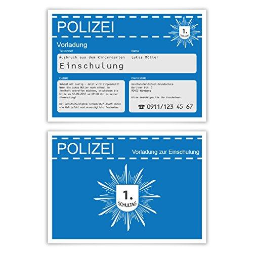 Einschulung Einladungskarten (10 Stück) erster 1. Schultag Einschulungskarten - Polizei Vorladung in Blau