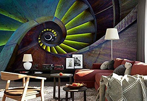 YCRY - Fototapete - Tapete Holzwendeltreppe - Moderne Wanddeko - Design Tapete - Wandtapete - Wand Dekoration-350x250cm