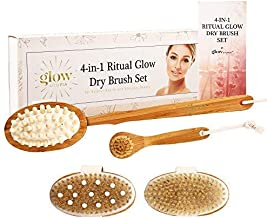 5 Piece Dry Brushing Body Brush and Massage Set (Beige): Bamboo, Natural Boar Bristle, 3 Targeted Body Brushes, 1 Face Brush, 1 Removable Handle. Dry Brush for Cellulite and Lymphatic Health, Beauty