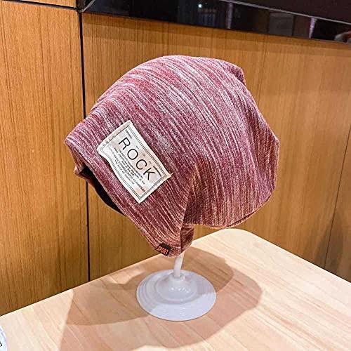 Roshow Otoño e Invierno Sombrero Casual Conjunto Salvaje Casquillo Tapa cálido Mes Gorra Multiusos Dormir Tapa Moda Oreja Pila Pila Pila Cabezal Sombrero de Toalla-Rojo Oscuro_M (56-58cm)