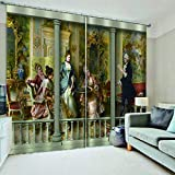 3D Printed Blackout Curtainsdigital Printing Design Distinctive Vertical Curtains, Simple Stylish Eyelet Curtains Breathable Insulation,For Living Room Bedroom Kid Room Castle Home Decor,W336*H229Cm